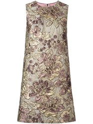 Dolce And Gabbana Floral Jacquard Shift Dress Nude And Neutrals