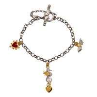 Sophie Harley London Seahorse And Boho Heart Bracelet Red Gold Silver