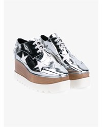 Stella Mccartney Elyse Star Faux Leather Wedge Shoes Silver White Metallic Silver