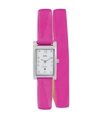 Jolie Ladies Silvertone And Crystal Double Wrap Watch Pink