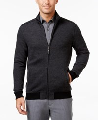 Tasso Elba Men's Herringbone Colorblocked Zipper Jacket Only At Macy's Grey Combo