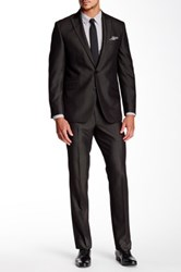 Kenneth Cole Reaction Pinstripe Two Button Peak Lapel Suit Black