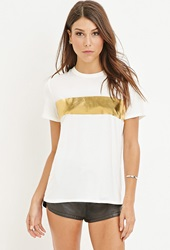 Forever 21 Metallic Stripe Tee Cream Gold