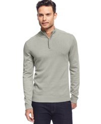Alfani Red Solid Slim Fit Quarter Zip Sweater Flint Htr