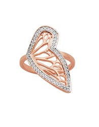 Lord And Taylor Butterfly 18K Rose Gold Plated Ring Silver
