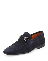 Magnanni For Neiman Marcus Ebro Suede Bit Loafer Navy