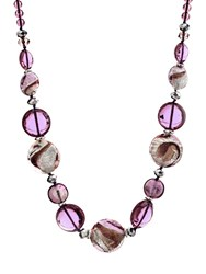 Martick Candy Cane Murano Glass Necklace Plum