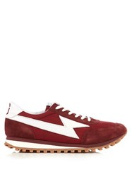 Marc Jacobs Suede And Nylon Trainers Burgundy