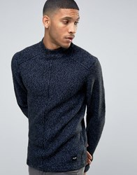 Only And Sons Jumper With High Neck In Mixed Yarn With Seam Detail Black Grey