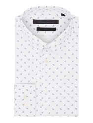 Kenneth Cole Denver Slim Fit Print Shirt With French Placket White