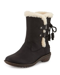 Akadia Back Laced Fur Lined Boot Black Ugg Australia