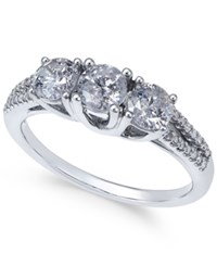 Macy's Diamond Trinity Engagement Ring 1 Ct. T.W. In 14K White Gold