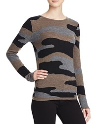 Aqua Cashmere Camo Crewneck Cashmere Sweater Black Heather Brown Grey