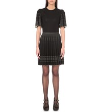Alexander Mcqueen Box Pleat Stretch Knit Dress Black Ivory