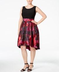 Si Fashions Sl Plus Size Brocade High Low Dress Red Multi