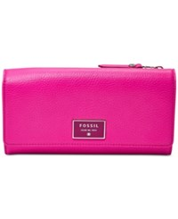 Fossil Dawson Leather Flap Clutch Wallet Hot Pink