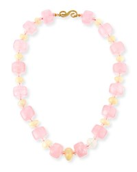 Splendid Company Rose Quartz Bolster And Ethiopian Opal Necklace