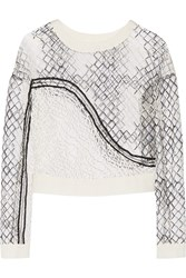 Jonathan Simkhai Faille Paneled Embroidered Tulle Top White