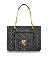 Love Moschino Heart Quilted Black Eco Leather Tote Bag