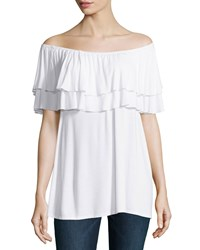 Neiman Marcus Ruffled Off The Shoulder Tee Bleach White