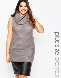 Brave Soul Plus Chunky Knit Sleeveless Cowl Neck Long Line Jumper Dress Gy1