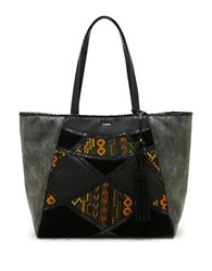 Steve Madden Myles Tapestry Patchwork Tote Black