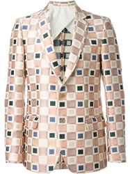 Walter Van Beirendonck Square Jacquard Blazer Pink And Purple