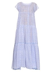 Thierry Colson Paola Porcelain Print Tiered Dress