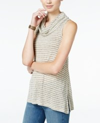 Hippie Rose Hippe Juniors' Sleeveless Cowl Neck Top Oatmeal Olive Combo