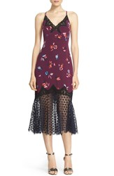 Rebecca Taylor Women's 'Bellflower' Lace Trim Silk Slipdress Plum Combo