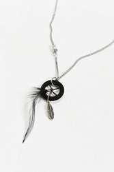 Urban Outfitters Feather Necklace Black