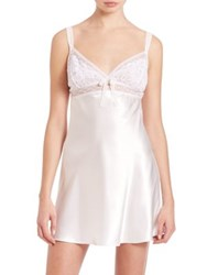 Oscar De La Renta Sleepwear Satin And Lace Chemise White