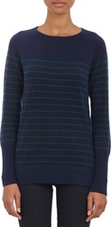 Barneys New York Thin Stripe Cashmere Sweater Blue Size S