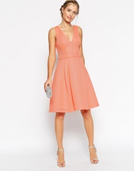 Asos Premium Mesh Folded Plunge Neck Debutante Dress Nude