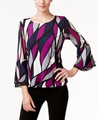 Alfani Printed Bell Sleeve Top Only At Macy's Patchwork Leaves Iris