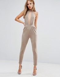 Oh My Love Choker Detail Jumpsuit Camel Slinky Brown