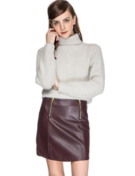 Pixie Market Zip Up Burgundy Leather Skirt