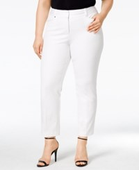 Alfani Plus Size Tummy Control Cropped Pants Only At Macy's Bright White