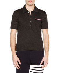 Thom Browne Short Sleeve Pique Polo Shirt Dark Gray