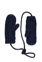 Forever 21 Cable Knit Mittens Navy