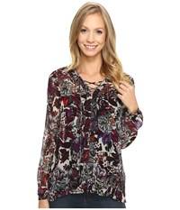 Lucky Brand Floral Peasant Top Black Multi Women's Long Sleeve Pullover