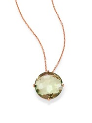 Suzanne Kalan Kiwi Topaz And 14K Rose Gold Round Pendant Necklace