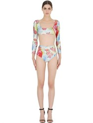 Adriana Degreas Heart Printed Lycra Two Piece Swimsuit