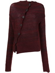 Vivienne Westwood Anglomania Asymmetric Button Cardigan Red