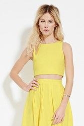 Forever 21 Zip Back Crop Top Yellow