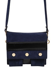 Kenzo Small Bike Suede And Leather Shoulder Bag Blue Black