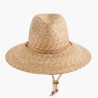 J.Crew Wide Brimmed Hat With Leather Trim Straw