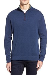 Tommy Bahama Men's Flip Side Reversible Quarter Zip Twill Pullover Coastline Heather