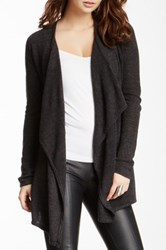 Sweet Romeo Draped Front Knit Cardigan Black