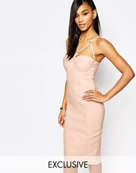 Rare London Bra Cup Bodycon Dress With Harness Detail Beige
